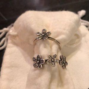 Set 2 used floral rings sz 8/9